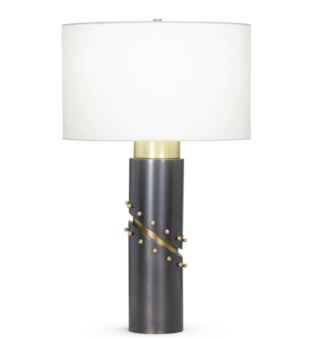 FlowDecor Wales Table lamp black and brass with linen shade
