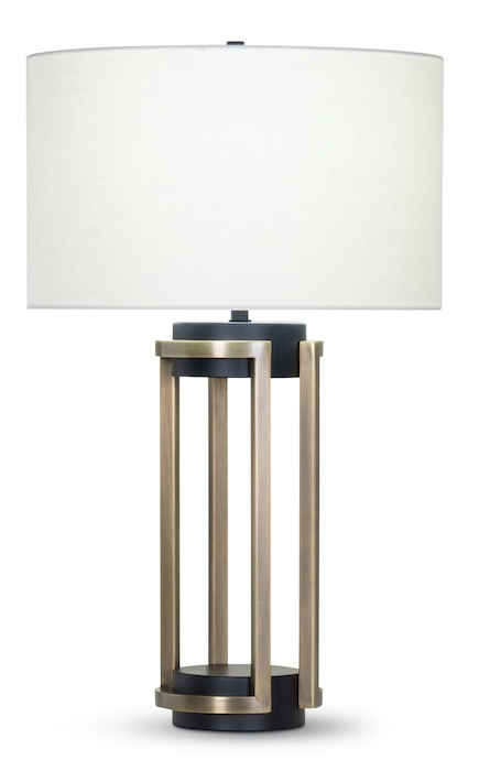 FlowDecor black and brass table lamp with white shade