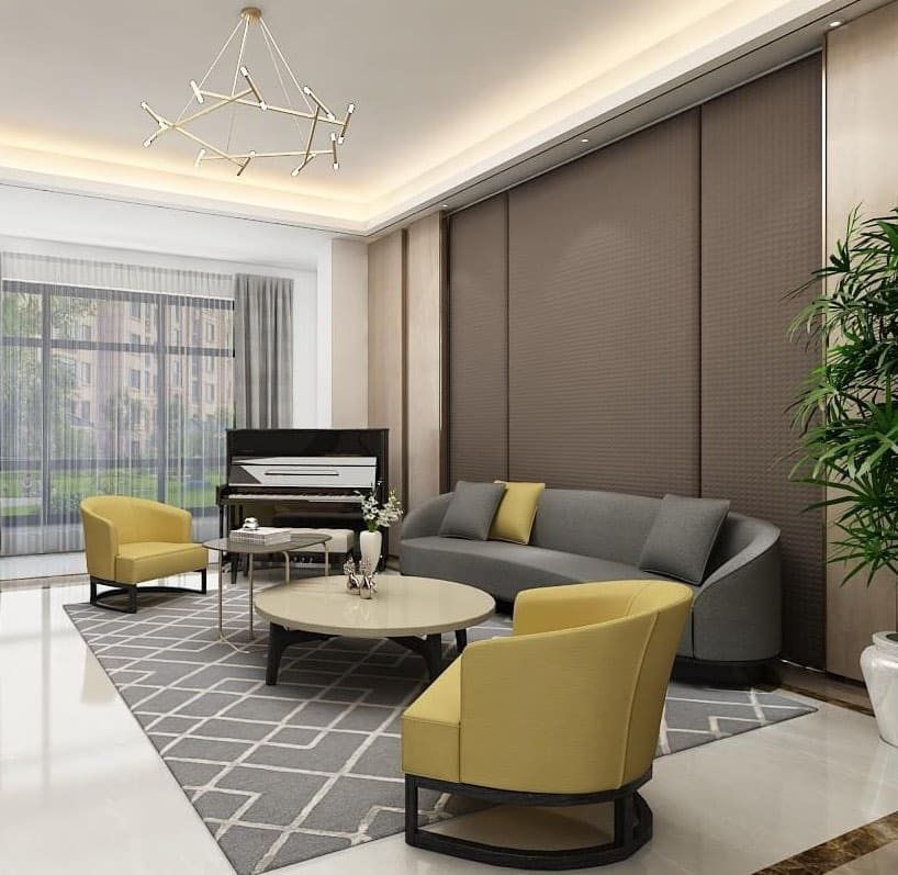 HC28 urban living room with curved sofa and two pale gold armchairs