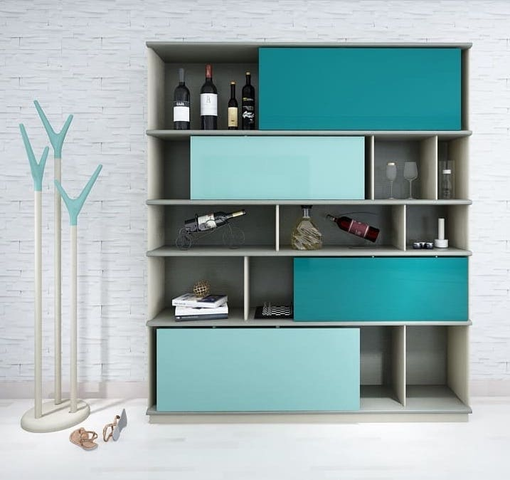 HC28 cabinet with shelves and sliding partitions in turquoise