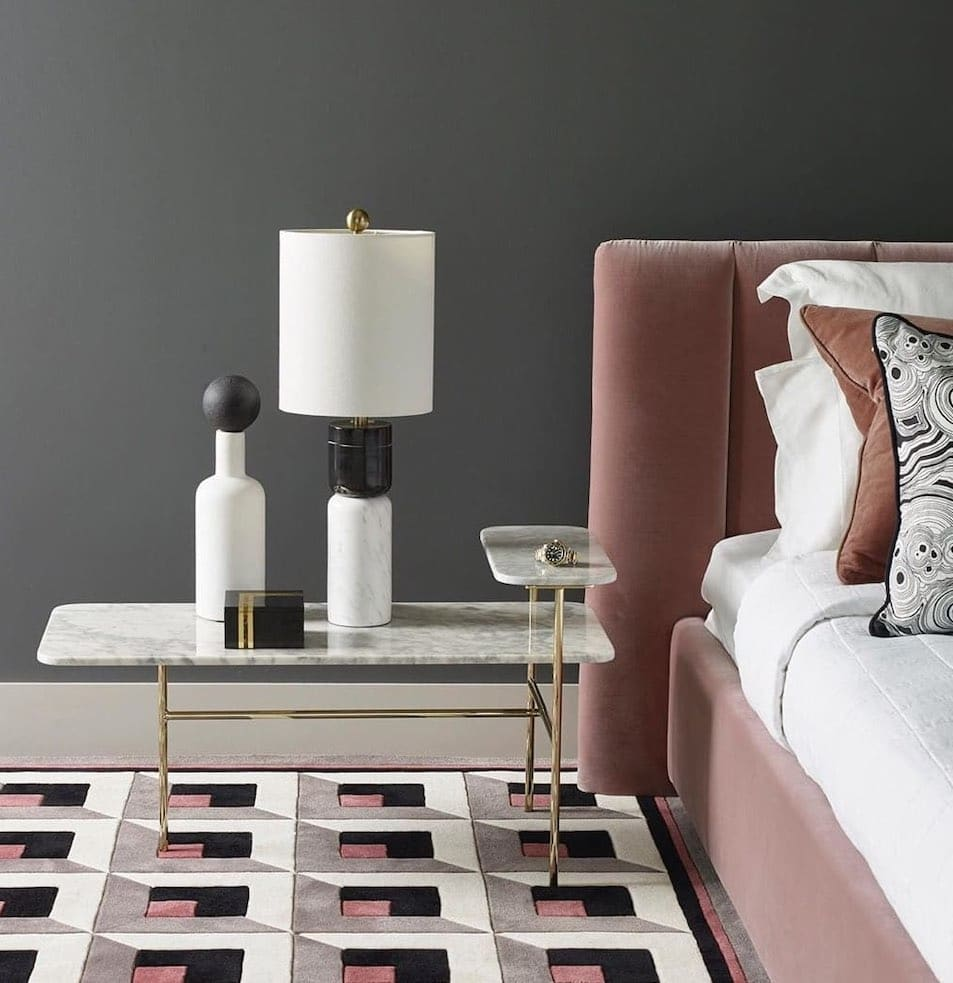 marble and chrome side table with two levels