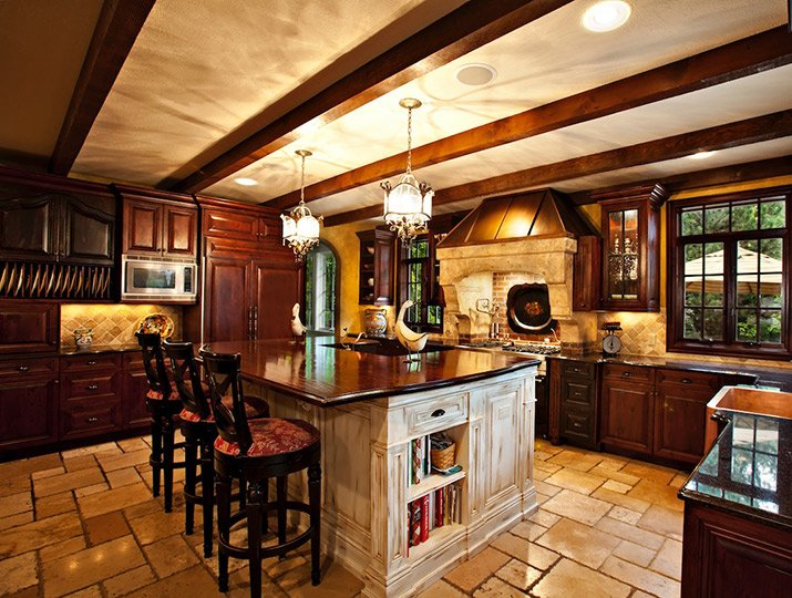 a Tuscan-style kitchen designed by Design Wright Studios