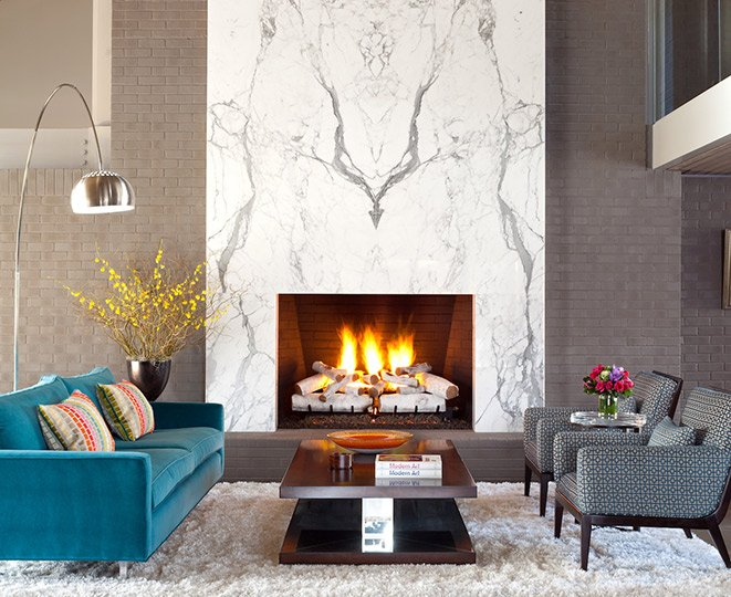 Mid-century style fireplace grouping, by Design Wright Studios