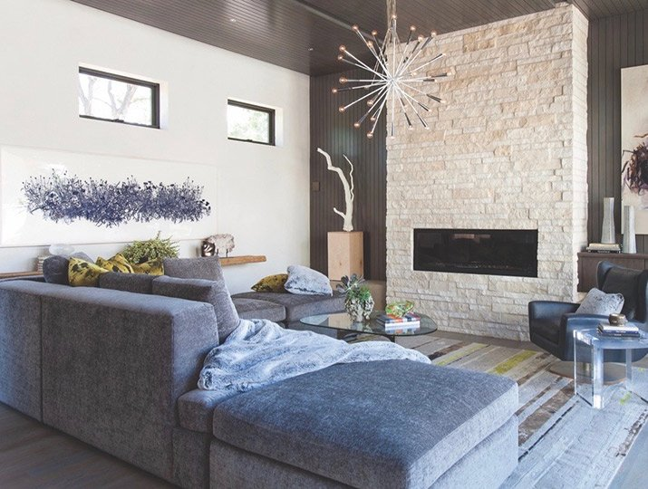 A Contemporary Living Room By The Fire, By Design Wright Studios For The  Denver Showhouse