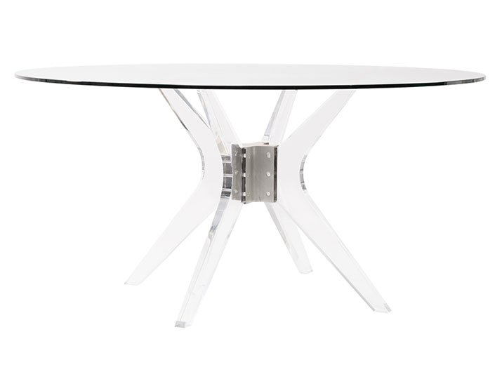 contemporary dining table in lucite by Belle Meade Signature