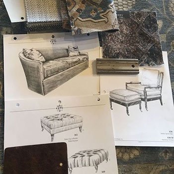 an inspiration board for a living room designed by Steve Souza