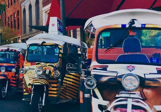 These colorful little electric taxis, called eTuks, circulate free on First Fridays around Denver's RiNo Arts District. Visit restaurants, arts studios, and fine interior design showrooms.