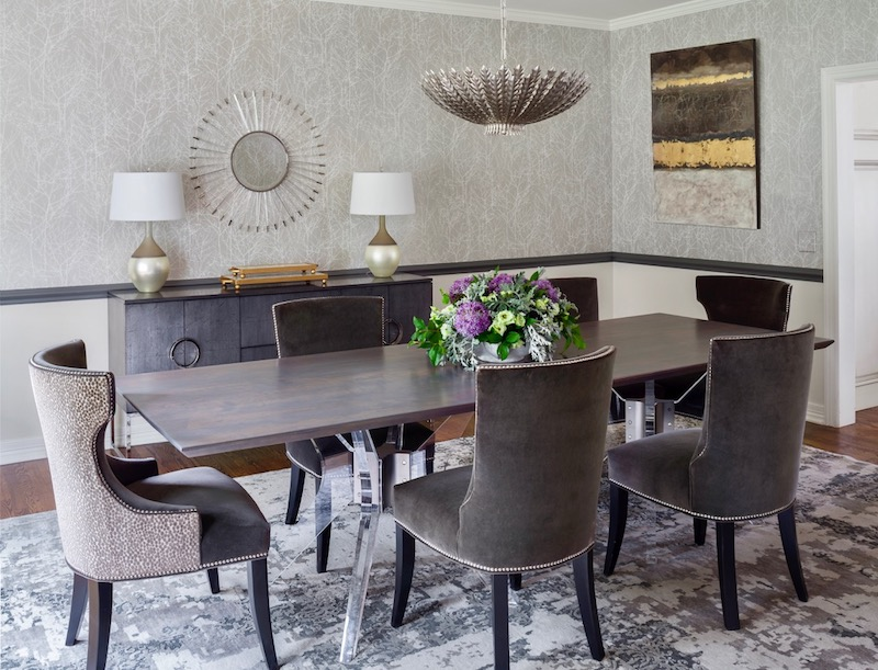 Design Wright Studios dining chairs, Belle Meade table, beautiful lighting and accessories