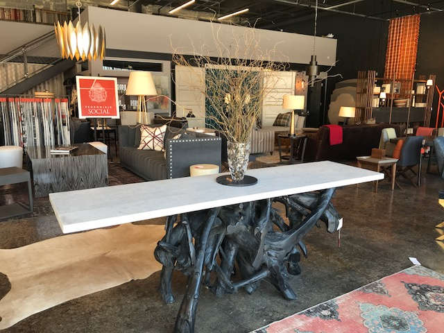 Charcoal Teak and Marble Console 94W 24D 38H Retail $8,572 Sale $4,286