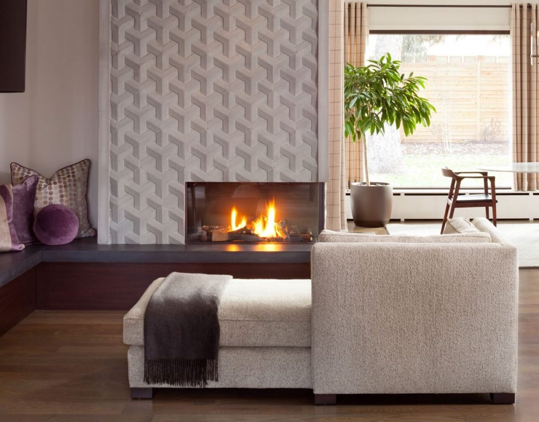 DWS sofa by fireplace