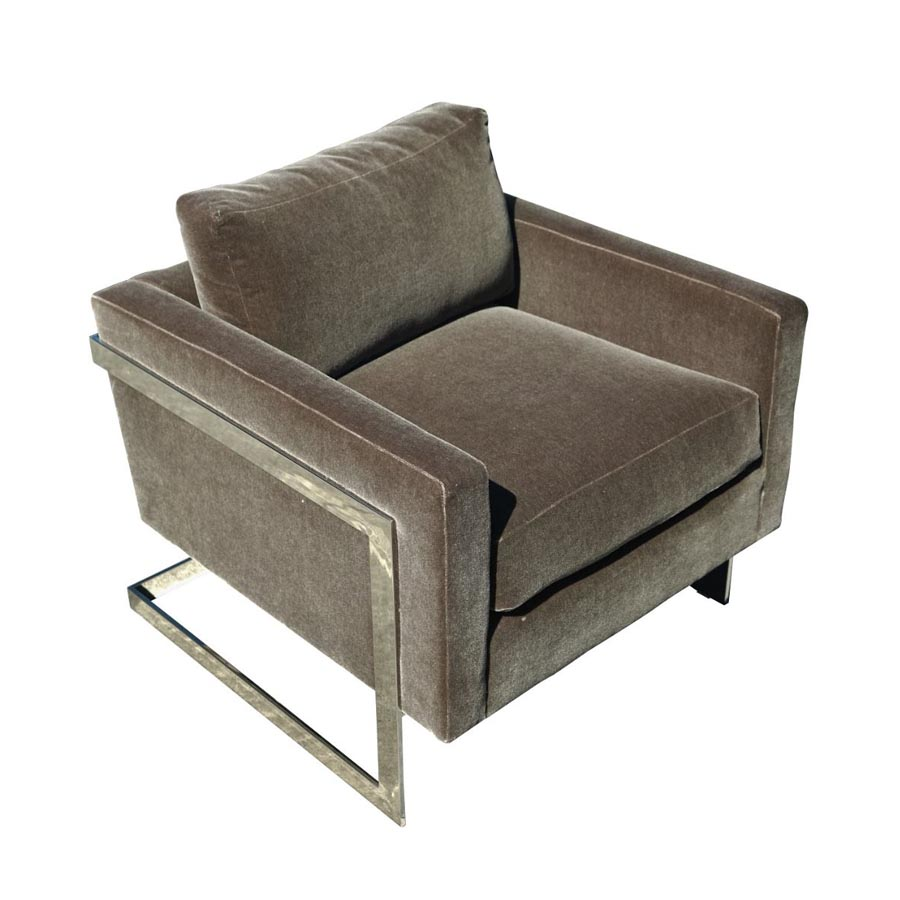 Milano Chair in sumptuous fabric and brass