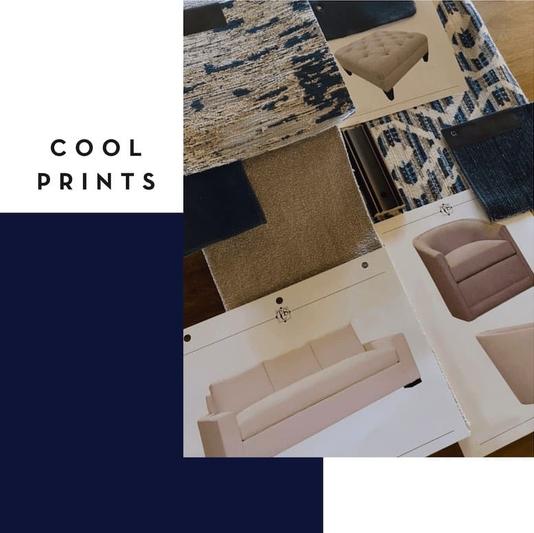 fabric swatches for design upholstery in cool shades