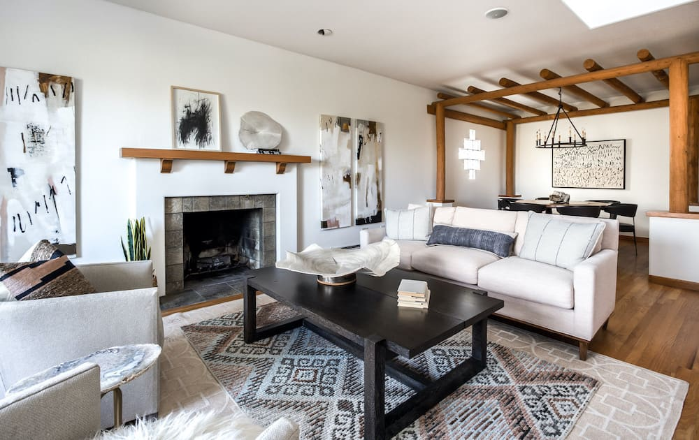 a Southwest-inspired living room with pale and earthy colors