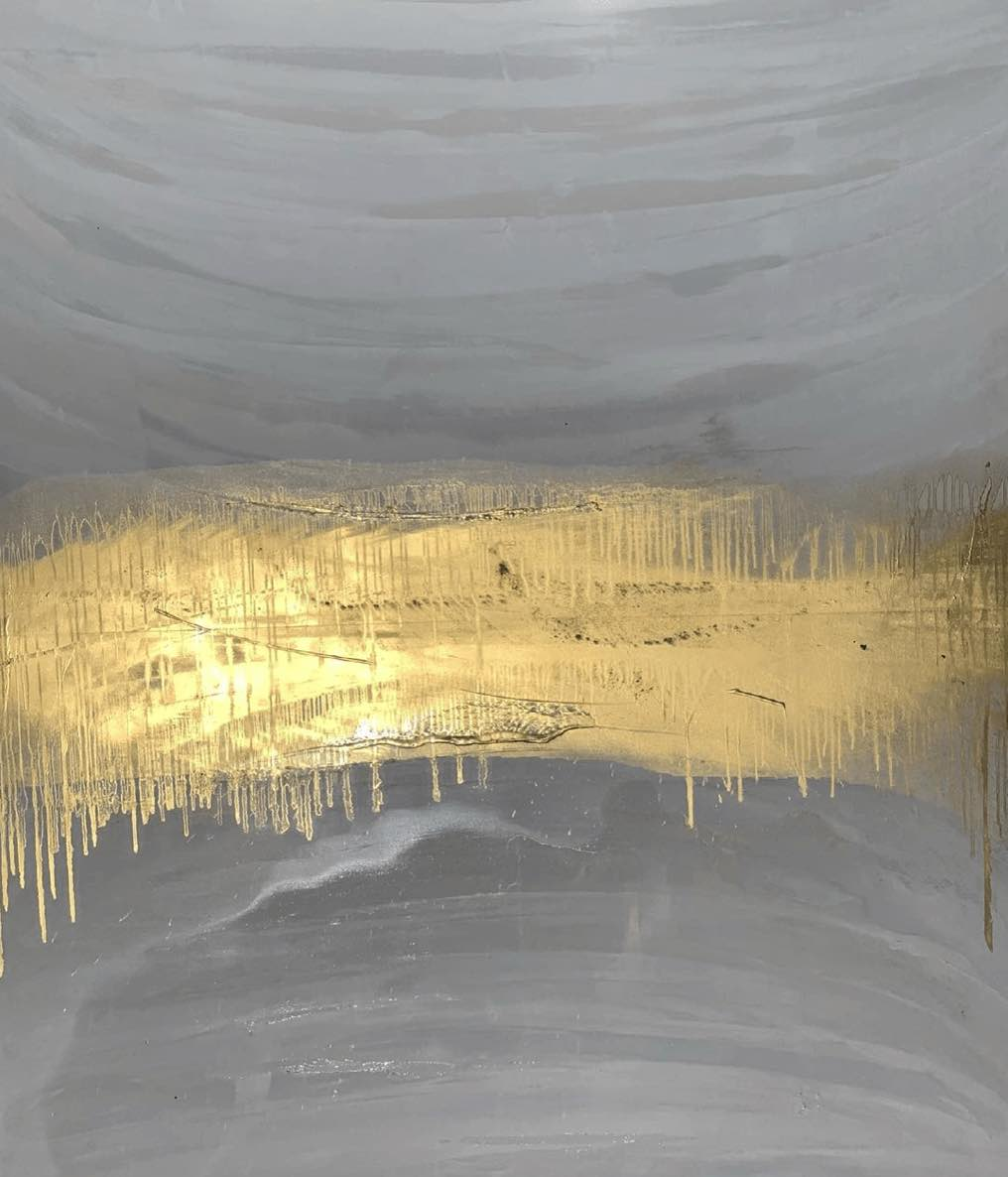painting in grays and a luminous patch of gold leaf, by the Texas artist Austin Allen James