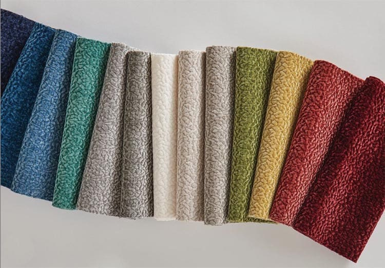 a rainbow of fabric samples in plush textured fabric