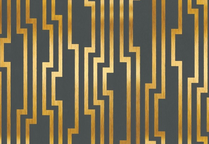 shiny gold geometric stripes on charcoal wallpaper